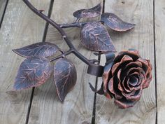 Hand forged metal rose, Steel rose, Iron flower, Metal sculpture, Wrought iron…