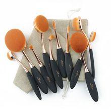 Pincéis de Maquiagem profissional 10 pcs Oval Extremamente Macio Conjunto de Pincel de Maquiagem Fundação Pó Escova Kit com Saco(China (Mainland))