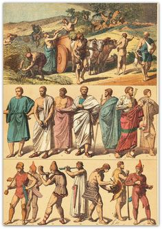 Ancient+Greek+Clothing | Ancient Greece Culture Clothing and Artifacts Historical Print 1894