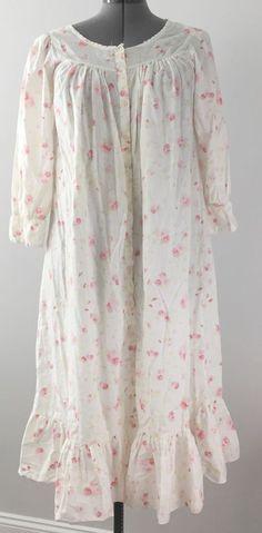 Vtg Victoria's Secret Floral modest Cotton Nightgown s M Long Prairie Ruffles | eBay