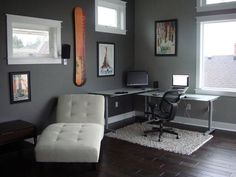 Office Decorating Ideas for Men as Your Best Inspiration: Men's Office Interiors With White Rug Modern Home Office Decor ~ dmetree.com Office Inspiration
