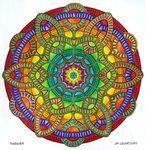 Mystical Web    Mandala-Jim via deviantART: hand-drawn ink on paper mandala; colored by hadas64 (see her work at deviantART.com also).