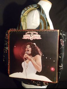 "Eye popping Donna Summer ""Live and More"" original LP album cover reDesigned into a reTroToTe!  99% reCycled-reUsed-rePurposed... 100% reDesigned & reTro!  All hand designed and hand sewn.  $50.00 each."