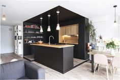 Beautiful Masculine Kitchen Design, Every woman has the power to entice a guy. Some women set a lot Black Kitchen Cabinets, Black Kitchens, Home Kitchens, Island Kitchen, Kitchen Cabinetry, Wood Cabinets, Kitchen Soffit, Brass Kitchen, Kitchen Black