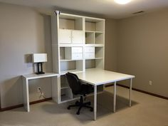 When we made our initial purchase, Ikea was short on one of the smaller Kallax shelves. The desk sat like this for at least six weeks before we pulled the ...