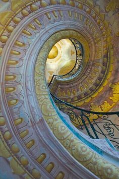 A spiral staircase in the library at Melk Abbey.