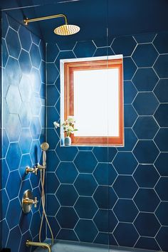 Oversize blue tiles in the guest bathroom (a bookend to Hernández and Leigh's… - Modern Decor, Diy Bathroom, Bathroom Colors, Bathroom Decor, Bathrooms Remodel, Cle Tile, Bathroom Mirror, Tile Bathroom, Bathroom Design