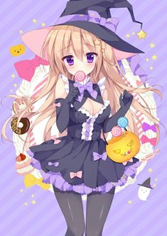 👻 Trick or Treat 👻 Anime Girl Neko, Chibi Girl, Kawaii Anime Girl, Anime Chibi, Manga Girl, Manga Anime, Anime Art, Anime Girls, Anime Witch