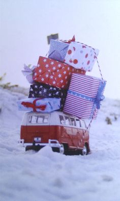 holiday, christmas cards, gift, winter, bus, christmas shopping, christmas presents, christmas morning, vw vans