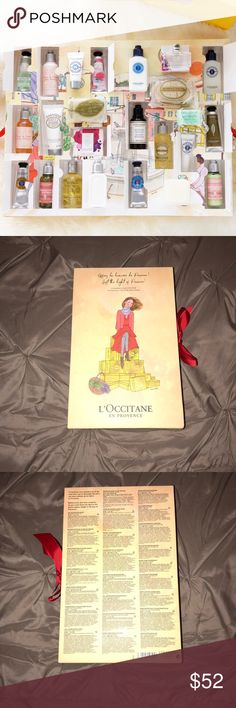 2017 L'OCCITANE advent calendar This is the 2017 advent calendar from L'Occitane . It was never been opened . It doesn't have the plastic wrapping around it but all the products are inside and have not been popped open . This is a great gift for someone or perfect if you do a lot of travel and like to take travel size with you . I got two for my birthday and I just won't use this . L'Occitane Makeup