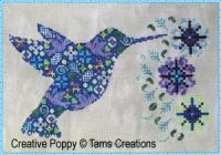 """Tam's Creations - Humminpatches (cross stitch pattern chart)  Here is the hummingbird in Tam's Creations wonderful cross stitch series with animals """"in patches"""". Each design is a delicate mosaik of tiny colorful patterns fitted next to each other. Look at the big picture and you see a graceful hummingbird. Look closer at the stitches and you will see a combination of flowers, birds and feathers.   Humminpatches was stitched on Marble Aida from the DMC Needlework fabric range."""