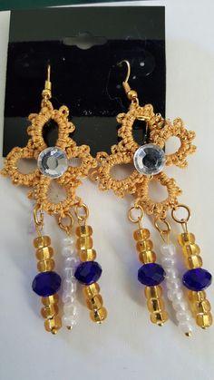 Tatted and beaded earrings Seed Bead Earrings, Beaded Earrings, Seed Beads, Drop Earrings, Tatting, Heart, Crochet, Bracelets, Jewelry