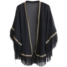 Black Embroidery Tassel Hem Kimono Coat ($27) ❤ liked on Polyvore featuring outerwear, coats, cardigans, jackets, kimonos, tassel kimono, embroidered kimono, embroidered coat and kimono coat