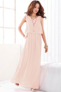 Pink Overlay Sleeveless Chiffon Maxi Dress features flowy chiffon fabric. Long-length cut make you look even taller and add more grace elements. Details: - Solid color - Overlay top - Sleeveless - Fab