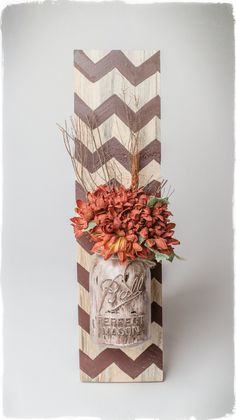 Handpainted Rustic Wood Wall Hanging with chevron design and floral arrangment in original Quart size Atlas canning jar. by LauriesRusticDecor on Etsy