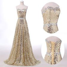 Shiny Sequins~ Long Evening Bridesmaid Prom Dresses Formal Party Gowns PLUS SIZE