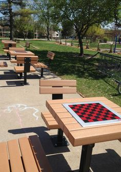 Checkerboard Tables: Spotted in the school yard! #Checkers