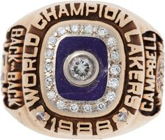 1988 Los Angeles Lakers NBA Championship Ring Presented to Tony Campbell. The six-foot seven small - Available at 2012 May Vintage Sports. Basketball Jewelry, Basketball Goals, Basketball Pictures, Basketball Legends, Football And Basketball, Basketball Players, Sports Teams, Nba Championship Rings, Lakers Championships
