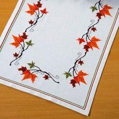 Fall Cross Stitch, Cross Stitch Flowers, Cross Stitch Embroidery, Hand Embroidery, Cross Stitch Patterns, Halloween 3, Cross Stitch Numbers, Corner Designs, Scrapbook Cards