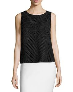 Sleeveless Popover Embroidered Top, Black by Laundry by Shelli Segal at Neiman Marcus Last Call.