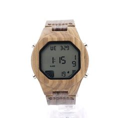 Men's Luxury Watches Wood Digital Wristwatch with Genuine Leather Band Luxury Complete Calendar Watch for Men as Gifts