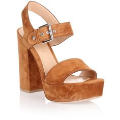 Gianvito Rossi Gina tan suede platform sandal ($407) ❤ liked on Polyvore featuring shoes, sandals, brown, high heel platform sandals, block heel sandals, suede sandals, tan sandals and brown shoes