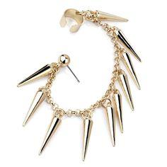 Gold Spike Tassel Rivet Chain Ear Cuff Cartilage Stud Post Earring Punk Rock for sale online Punk Earrings, Long Tassel Earrings, Crystal Earrings, Fashion Earrings, Fashion Jewelry, Ear Cuff Piercing, Cartilage Stud, Piercings, Silver Ear Cuff