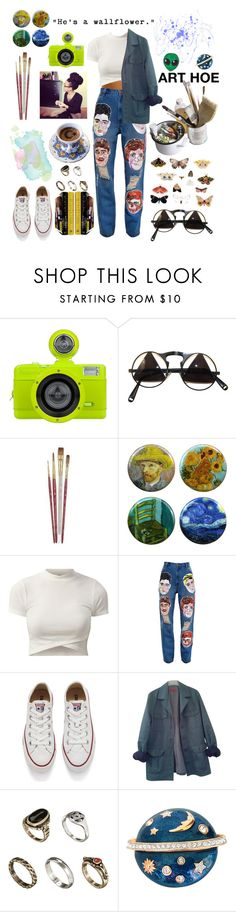 """🌞ART HOE🌞"" by raven-so-cute ❤ liked on Polyvore featuring Lomography, Mason's, Ashish, Converse, HUGO, Wallflower, ASOS, Swarovski and Sara M. Lyons"