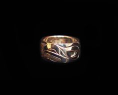 """Eagle Ring, Sheldon Williams. Handcarved sterling silver, 0.38"""". Northwest Coast First Nations Jewelry."""