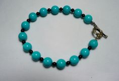 Turquoise and Onyx Bead Bracelet / Turquoise Beads / Onyx Beads / 8 inches Gemstone Bracelet by SunMoonJewels on Etsy