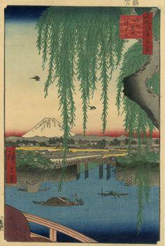 The Eight View Bridge, One Hundred Famous Views of Edo, Hiroshige Ando (1797-1858), Uoya Eikichi, 1856 Japanese paper, 35.3x23.6 cm
