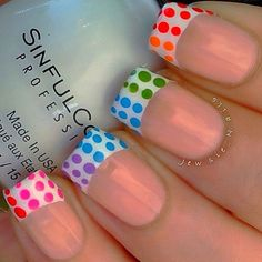 Rainbow dotticure french tip nails