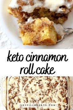 Low Carb Cinnamon Roll Cake has a sweet cinnamon filling, tender cake,