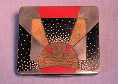 LACQUERED SILVER, COQUILLE D'OEUF, PARCHMENT & SNAKESKIN CIGARETTE CASE by Gérard Sandoz France, circa 1925 With geometric design of red and black lacquer with eggshell and parchment and snake skin. Monogrammed: M K A inside  Hallmarks: 950 silver/ Gustave Sandoz poincon/ 4