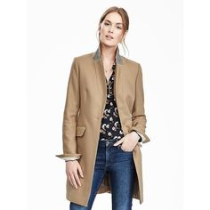 Banana Republic Womens Melton Wool Buttoned Top Coat ($179) ❤ liked on Polyvore featuring outerwear, coats, camel, camel topcoat, banana republic, camel top coat, white coat and banana republic coat