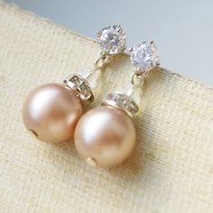 Champagne Pearl Bridal Earrings Champagne Pearl Drop by luxedeluxe