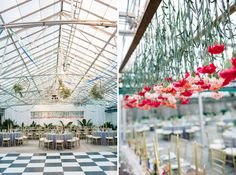 hanging carnations//greenhouse wedding