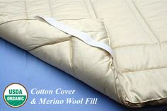 Natural Organic Merino Wool Mattress Topper Washable | The Futon Shop