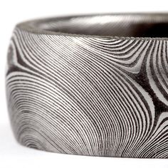 Damascus stainless steel ring, Starlight pattern.