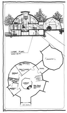 46m Natural Spaces Dome Basement, Shift Bedroom and Mech Room (since I want to excavate the unexcavated area and make that a garage... so the basement would be partially excavated) Pin Two of Two