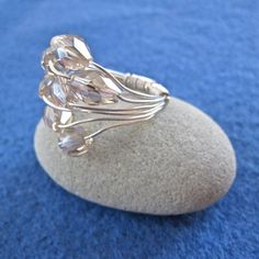 Sterling Silver and Crystal Cluster Ring  made by AnnetteDonnelly, $30.00