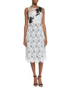 Sleeveless Lace Cocktail Dress, White/Black by Oscar de la Renta at Neiman Marcus.