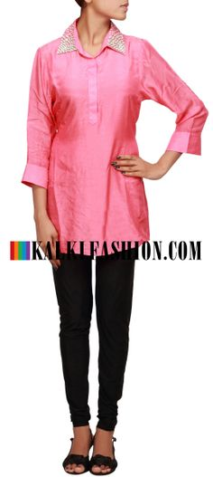 Buy Online from the link below. We ship worldwide (Free Shipping over US$100) http://www.kalkifashion.com/peach-kurti-featuring-with-pearl-embellished-collar-only-on-kalki.html