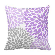 Lavender and Gray Dahlia modern decor sofa pillow