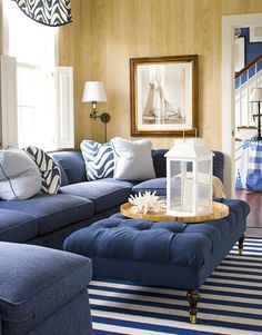 Classic blue + white Nantucket living room: Faux bois wallpaper + striped rug by xJavierx, via Flickr