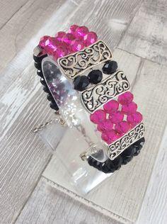 Valentines, Ladies bracelet, Crystal bracelet, Cuff bracelet, Ladies jewellery, Jewellery, Crystal, Glass, Handmade, Gift for her, OOAK by Angelscrafts1 on Etsy