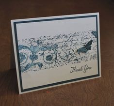 Stampin UP Postcard inspired-Very Vintage Wheel Thank You card, uses midnight muse ink and watercolored butterfly stamped, punched and put on a dimensional dot.
