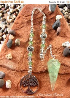 ON SALE Green Fluorite Tree of Life Pendulum  by StarshineBeads on Etsy  #pendulums #dowsing #divination #fluorite
