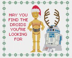 Star Wars Christmas cross stitch pattern PDF featuring R2-D2 and C-3PO. £2.30, via Etsy.