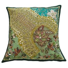 Cotton Cushion Cover Floral Embroidered Patchwork Pillow Cover Indian Traditional - PL111474 on Etsy, $13.99